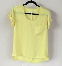 Rag & Bone Yellow Raw Edge Silk Top Rolled Sleeve Blouse Size XS