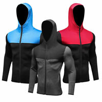 Men's Athletic Fitness Hoodies Long Sleeve Running Tops with Zipper Pockets Tee