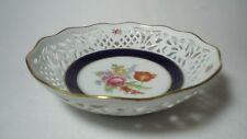 Vintage Echt Cobalt Schumann Arzberg Bavaria Germany Flowers Lattice Bowl