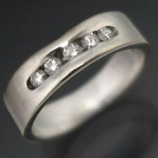 Substantial Low Set 5 Diamond 18k Solid  WHITE GOLD ETERNITY RING / BAND Sz K1/2
