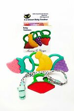 Baby Teether Toys (4 Pack) - Soft Silicone Fruit Teething Toys Set Bpa Free New