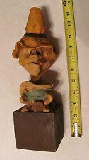 Vintage Troll Elf Gnome Pixie Figure Odd Funny Face Hillbilly Folk Art Fisherman