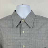 Corneliani ID Brown Check Plaid Mens Dress Button Shirt Size 17/43 Large L