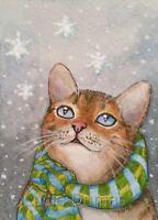 ACEO art print Cat 627 snow winter from original watercolor art painting L.Dumas