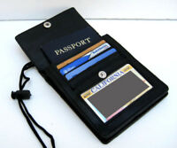 Men Women Black leather Passport ID Holder Pouch Wallet Adjustable Neck Strap