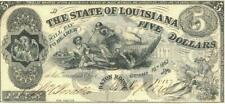 State of Louisiana $5 Dollars Obsolete Currency Banknote 1862 AU