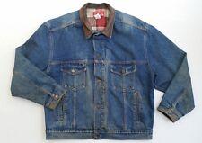 Vintage 90s MARLBORO Denim Jean Jacket Mens Trucker Western Leather Collar -  XL