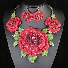 Giant Red Rose Austrian Rhinestone Necklace Earrings Set Beauty Pageant N943r