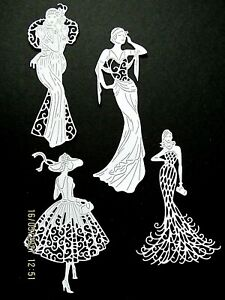New: 12 x Tattered Lace Glamor Girls Die Cuts. White