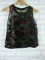 ASTR Top sz S, 10 black red floral print