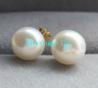 GORGEOUS 10-11MM AAAA natural white south sea stud earrings 14k gold