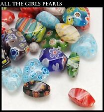 40g Bags Mixed Colour & Shape Millefiori Handmade Lampwork Beads (A10A)