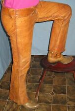 ANTIQUE OLD MEXICO LEATHER CHARRO PANTS HAND MADE/TIED LACING CA 1900
