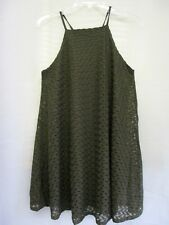 Derek Heart Junior Medium Spaghetti Strap Lined Lace Dress Olive Green FREE SHP.