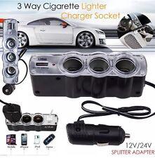 12V/24V 4 WAY MULTI SOCKET CAR CIGARETTE LIGHTER SPLITTER USB PLUG CHARGER MP3 U