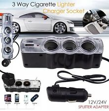 12V / 24V 4 Way Multi Presa Auto Sigaretta Accendino Splitter USB Spina Caricabatterie MP3 U