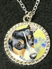"""Dog Rat Terrier B Charm Tibetan Silver with 18"""" Necklace"""