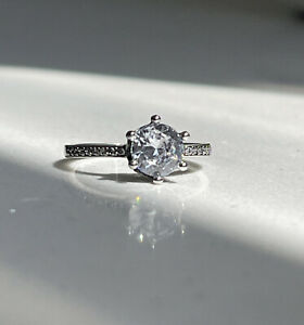 💫Pandora Clear Sparkling Crown Solitaire Ring-S925 ALE-198289CZ, Size 56💫🇬🇧