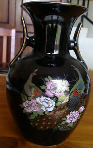 Fine China of Japan Black enamel vase, with 2 peacocks & flowers - 26cm tall