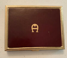Etienne Aigner hard cigarette case leather goldtone, fits 100's