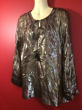 J. CREW Women's Shiny Sheer Tunic Style Silk Blend Shirt - Size 4 - NWT