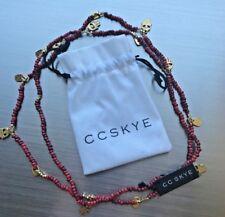 NWT CC Skye Coral Beaded Bali Necklace w/Brass Charms PopSugar