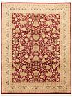 """Vintage Hand-Knotted Carpet 9'2"""" x 12'3"""" Traditional Geometric Wool Area Rug"""