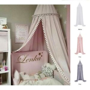 Unisex Baby Child Bed Cotton Modern Stylish Canopy Tent in Pink Grey White