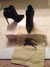Burberry size 6.5/7 Euro 37  Woolwell Ankle black leather boots Authentic $800