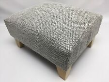 Footstool / Pouffe / Stool / Grey chunky herringbone chenille light wood legs
