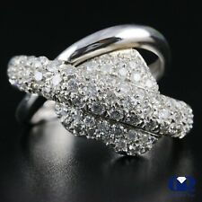 Ring Right Hand Ring 14K White Gold Natural 1.80 Ct Diamond Heart Shape Cocktail