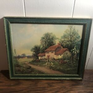 """Vintage Wood Frame Color Print Lithograph COUNTRY COTTAGE 9"""" x 11"""" w/Glass"""