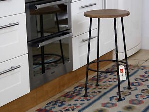 Breakfast bar stool, 64cm fixed height, rebar metal in Pewter colour