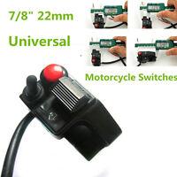 "Universal 7/8"" 22mm Motorcycle Handlebar Mount Push Button Horn Beam Turn Switch"