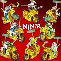 Ninjago Ninja Lot 8 FIGURINES BLOCS NINJA MOTOS OR Hero Kai Jay Cole Zane Nya