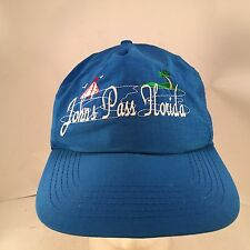Vintage Johns Pass Florida Embroidered Blue Nylon Snapback Hat Sailboat Palms
