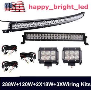 "288W 50"" Curved Led Light Bar+120W 22"" Led Light+ 2PCS 4"" 18W LED+3X Wiring Kits"
