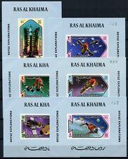 272/SPACE RAUMFAHRT 1971 Ras al Khaima Sojus 547-52 Einzelblocks Blau MNH