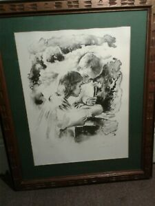 Sandu Liberman Signed & Numbered 35/200 Limited Edition Print Boy and Girl Wood