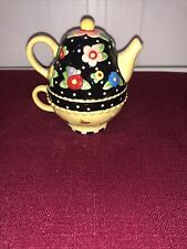 New ListingRare! Mary Engelbreit Salt & Pepper Shakers Tea Pot & Tea Cup Flowers Checks