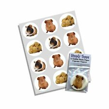 Cupcake Toppers Guinea Pig Pre-cut Edible Rice Paper Cake Decoration 40mm x 12