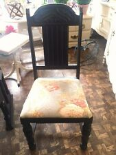 Set of Four Antique Oak Painted Black Carved Newly Newly Upholstered Chairs