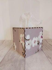Tissue Box Cover Made W/ Mulberry Cherry Blossom Fabric Cube Square