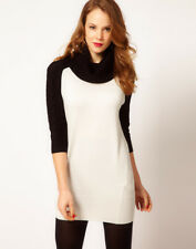 New Karen Millen black white wool knit jumper tunic dress Sz 3 4 UK 12 14 16