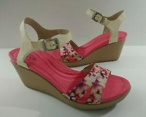 Crocs Leigh II Ankle Strap Wedges Heels Strappy Sandals Red Pink Size 9