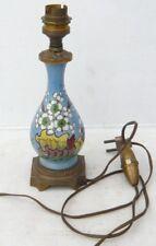 Joli PIED DE LAMPE Ancien du XIXème siècle en Faïence et Bronze Décors Fleurs