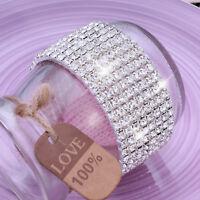8 X Row Sparkling Shining Crystal Diamante Bracelet For Wedding Womens Bride