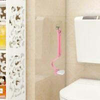 S Type Curved Plastic Toilet Cleaning Brush Corner F3G2 Rim Cleaner Handle B8E0
