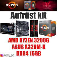 PC Bundle Kit Set ❤ AMD Ryzen 3200G + Grafik ✔ ASUS A320 Mainboard ✔ DDR4 16GB ✔