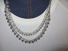 C.A.K.E. Multi Stand Necklace Silver Finish Sparkley  Brand New on Card Tag
